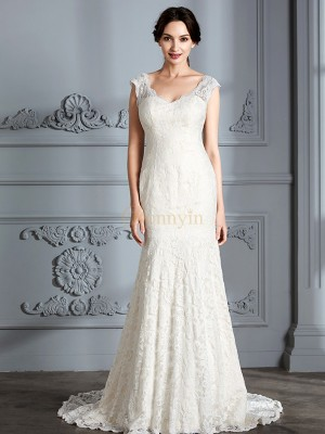 Ivory Lace V-neck Trumpet/Mermaid Sweep/Brush Train Wedding Dresses