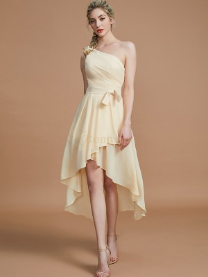 Champagne Chiffon One-Shoulder A-Line/Princess Asymmetrical Bridesmaid Dresses