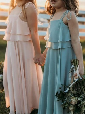 Pink Chiffon Spaghetti Straps Empire Floor-Length Flower Girl Dresses