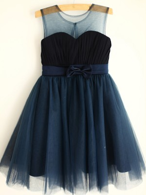 Dark Navy Tulle Scoop A-Line/Princess Knee-Length Flower Girl Dresses