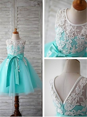 Light Sky Blue Tulle Scoop Ball Gown Tea-Length Flower Girl Dresses