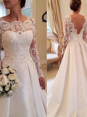 White Satin Scoop Ball Gown Court Train Wedding Dresses