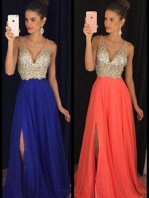 Chiffon V-neck A-Line/Princess Floor-Length Prom Dresses