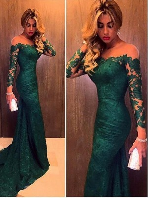 Hunter Green Lace Off-the-Shoulder Trumpet/Mermaid Sweep/Brush Train Prom Dresses