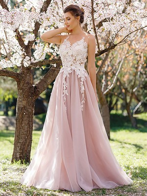 Pink Tulle Jewel A-Line/Princess Floor-Length Dresses