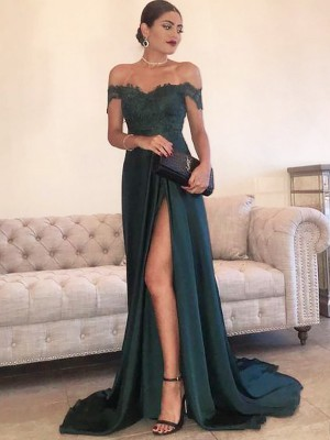 Dark Green Satin Off-the-Shoulder A-Line/Princess Sweep/Brush Train Dresses