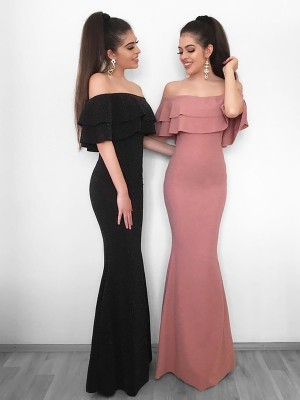 Black Chiffon Off-the-Shoulder Sheath/Column Floor-Length Dresses