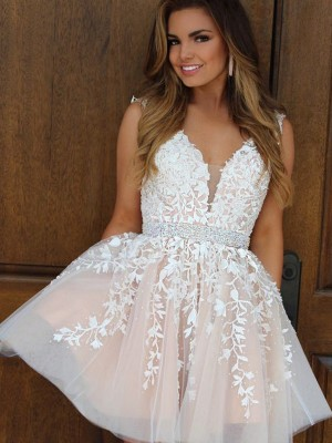 White Tulle V-neck A-Line/Princess Short/Mini Dresses