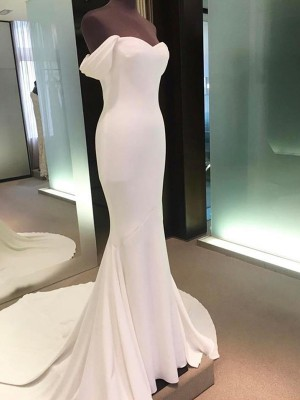 Ivory Satin Off-the-Shoulder Sheath/Column Court Train Wedding Dresses