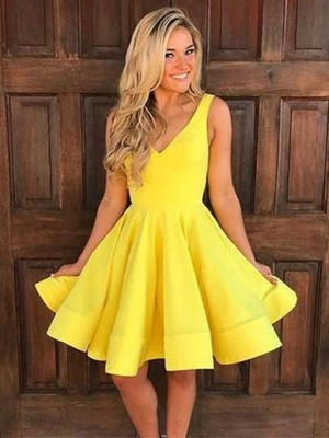 Yellow Satin Straps A-Line/Princess Short/Mini Dresses