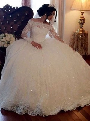 White Lace Bateau Ball Gown Floor-Length Wedding Dresses