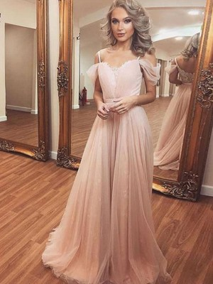 Pearl Pink Tulle Off-the-Shoulder A-Line/Princess Sweep/Brush Train Dresses