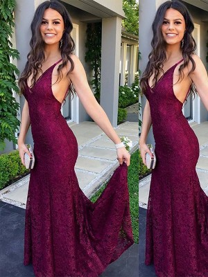 Burgundy Lace V-neck Trumpet/Mermaid Sweep/Brush Train Dresses
