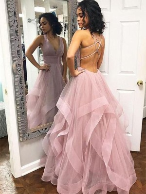 Pink Organza V-neck A-Line/Princess Floor-Length Dresses