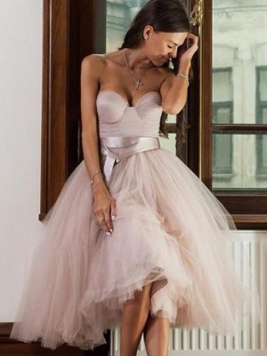 Pink Tulle Sweetheart A-Line/Princess Tea-Length Dresses