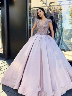 Lilac Satin V-neck Ball Gown Floor-Length Dresses