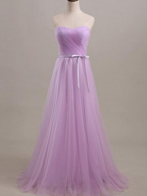 Lilac Tulle Sweetheart A-Line/Princess Floor-Length Bridesmaid Dresses