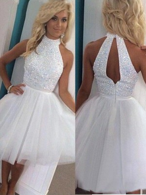 White Tulle Halter A-line/Princess Short/Mini Dresses