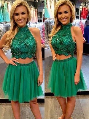 Dark Green Tulle High Neck A-line/Princess Short/Mini Dresses