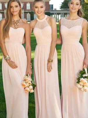 Pink Chiffon A-Line/Princess Floor-Length Bridesmaid Dresses