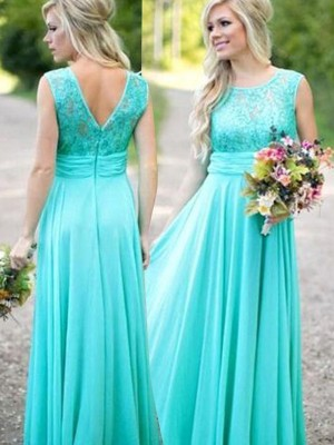 Blue Chiffon Scoop A-Line/Princess Floor-Length Bridesmaid Dresses