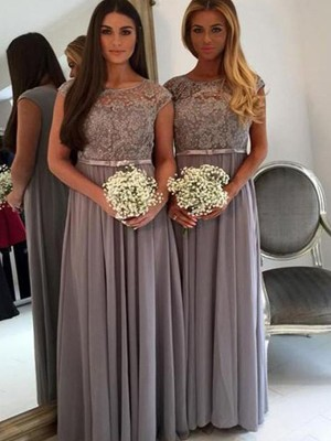 Silver Chiffon Scoop A-Line/Princess Floor-Length Bridesmaid Dresses