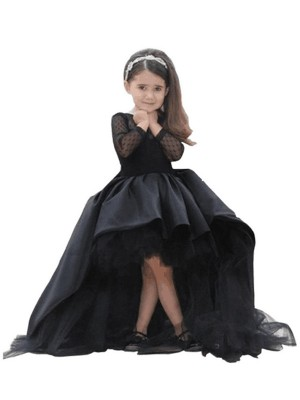 Royal Blue Satin Scoop Ball Gown Sweep/Brush Train Flower Girl Dresses