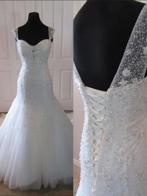 Ivory Tulle Straps Trumpet/Mermaid Court Train Wedding Dresses
