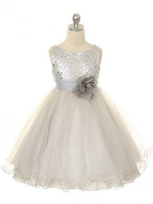 White Tulle Jewel Ball Gown Tea-Length Flower Girl Dresses