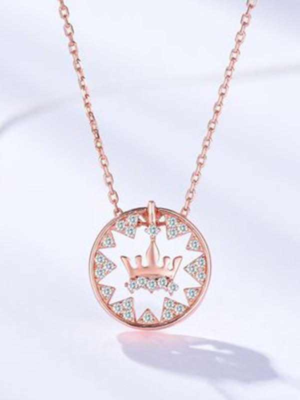 Fashion S925 Silver With Crown Women Necklaces