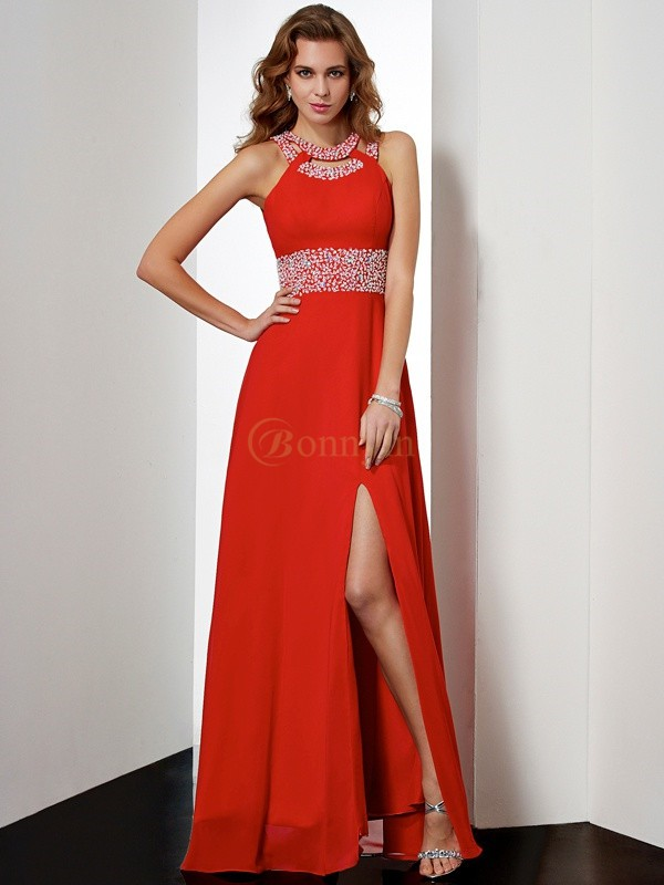 Red Chiffon Jewel Empire Floor-Length Dresses