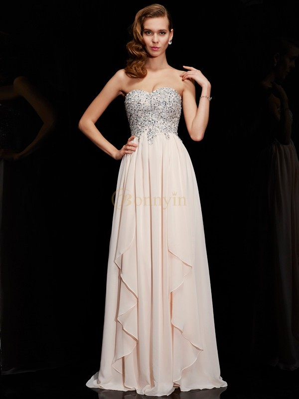 Champagne Chiffon Sweetheart Sheath/Column Floor-Length Dresses