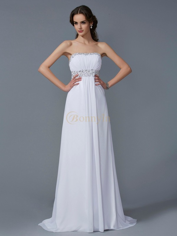 White Chiffon Strapless A-Line/Princess Sweep/Brush Train Dresses