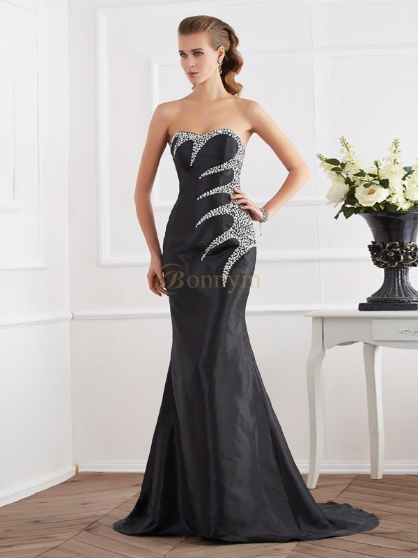 Black Taffeta Strapless Sweetheart Trumpet/Mermaid Sweep/Brush Train Dresses