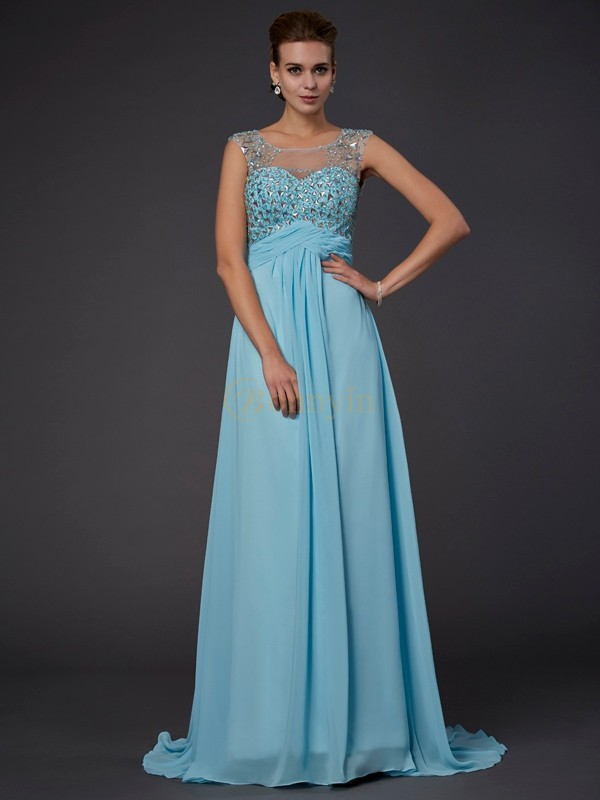 Light Sky Blue Chiffon Scoop A-Line/Princess Sweep/Brush Train Dresses