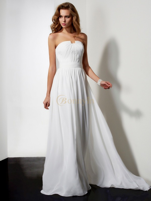 Ivory Chiffon Strapless A-Line/Princess Sweep/Brush Train Dresses