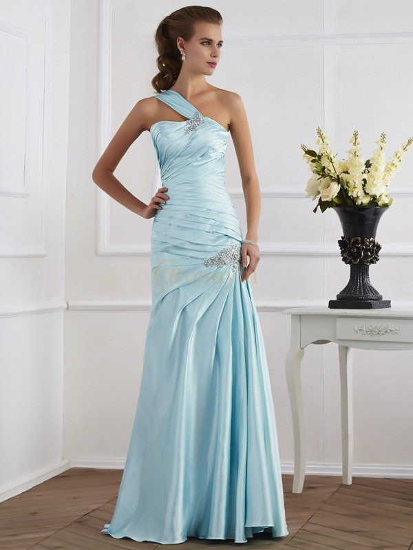 Blue Elastic Woven Satin One-Shoulder Trumpet/Mermaid Floor-Length Dresses