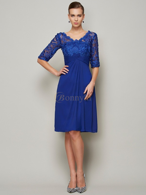 Royal Blue Chiffon V-neck Sheath/Column Knee-Length Mother of the Bride Dresses