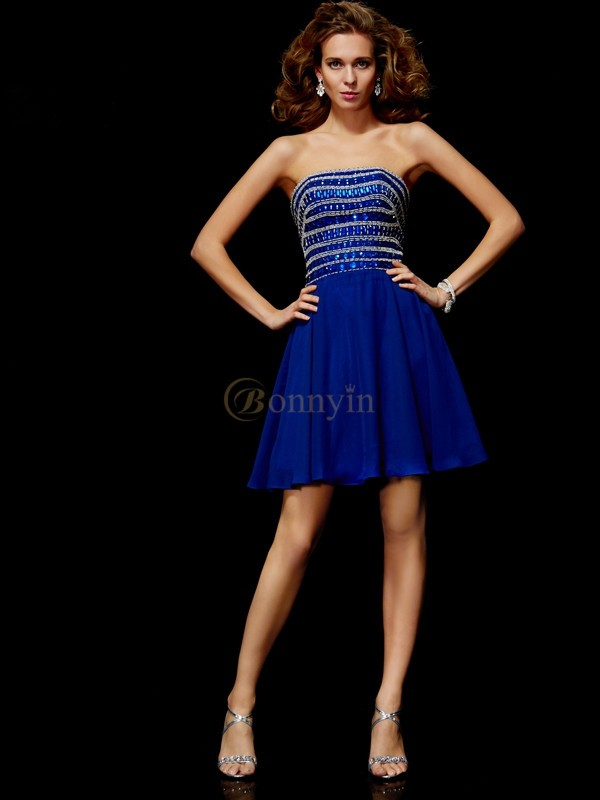 Royal Blue Chiffon Strapless A-Line/Princess Short/Mini Cocktail Dresses