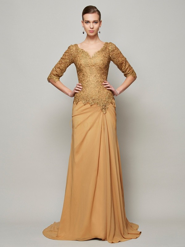 Brown Chiffon V-neck Sheath/Column Floor-Length Dresses