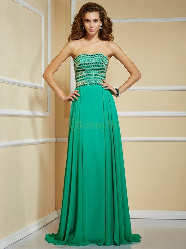 Green Chiffon Strapless A-Line/Princess Sweep/Brush Train Dresses