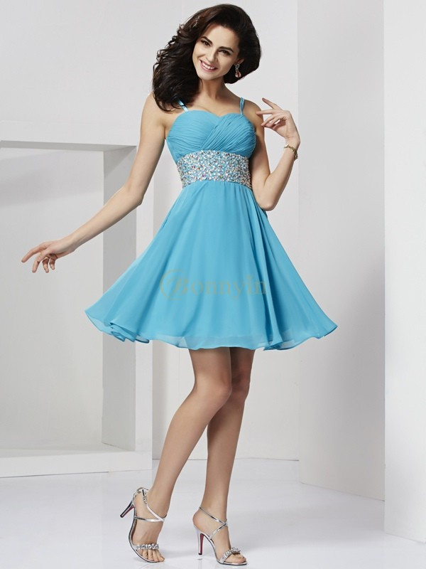 Blue Chiffon Spaghetti Straps A-Line/Princess Short/Mini Cocktail Dresses