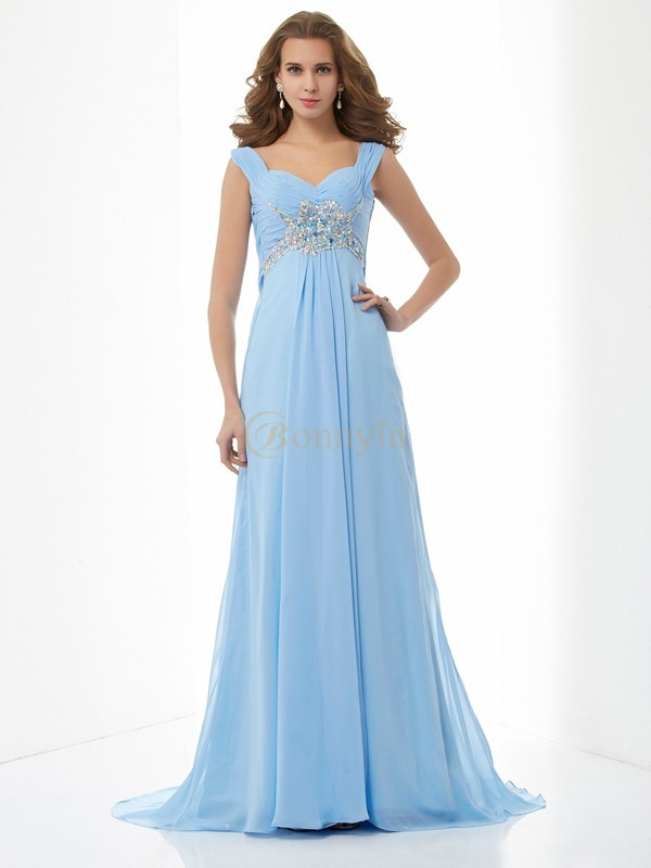 Light Sky Blue Chiffon Sweetheart Straps A-Line/Princess Sweep/Brush Train Dresses