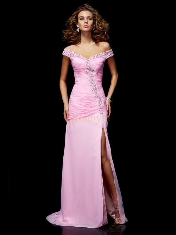 Pink Chiffon Off the Shoulder A-Line/Princess Floor-Length Dresses
