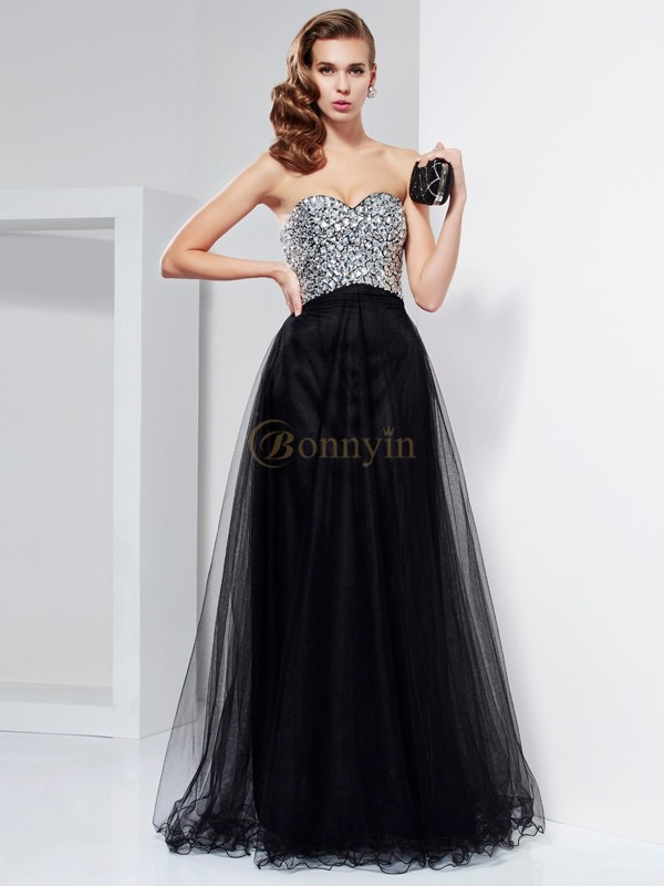 Black Elastic Woven Satin Sweetheart A-Line/Princess Floor-Length Dresses