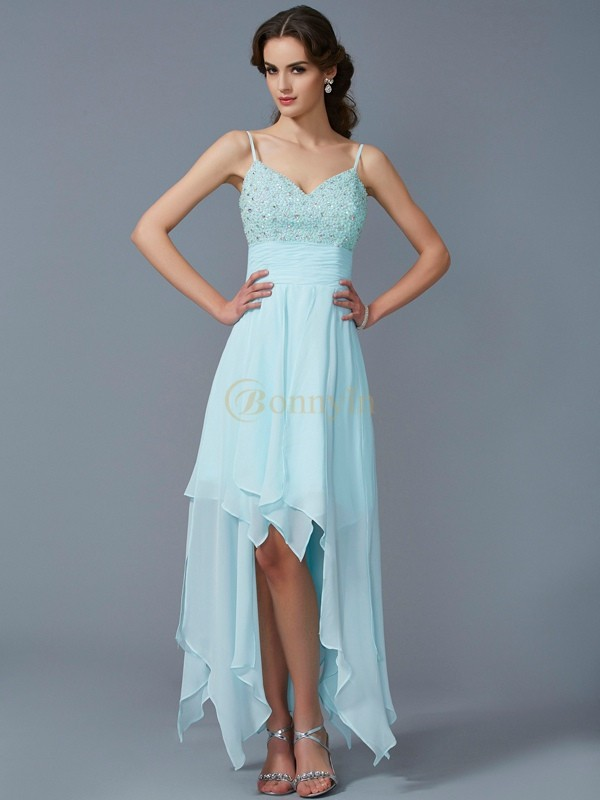 Blue Chiffon Spaghetti Straps A-Line/Princess Asymmetrical Cocktail Dresses