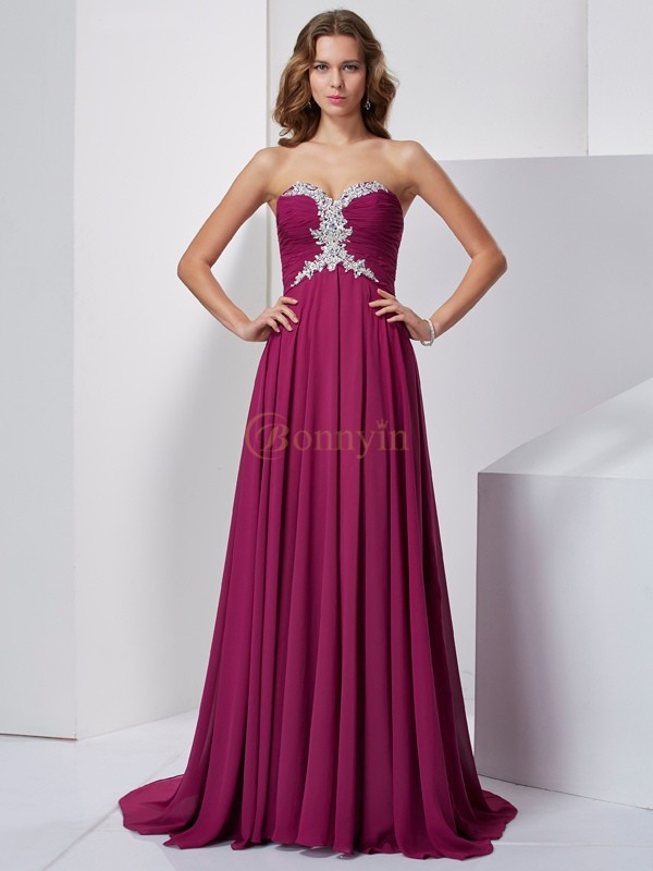 Burgundy Chiffon Sweetheart A-Line/Princess Sweep/Brush Train Dresses