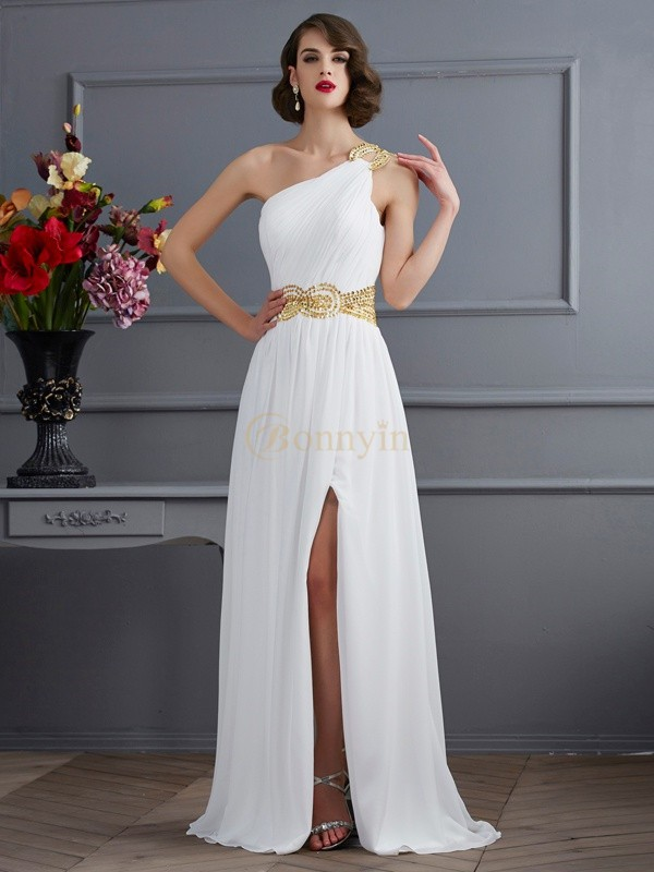 Ivory Chiffon One-Shoulder A-Line/Princess Sweep/Brush Train Dresses