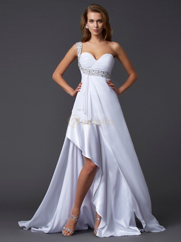 White Chiffon One-Shoulder A-Line/Princess Sweep/Brush Train Dresses