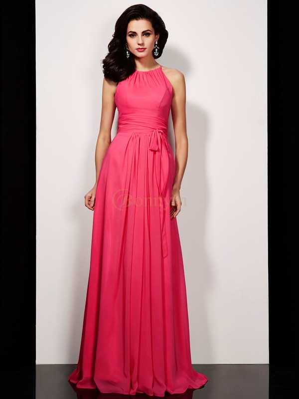 Red Chiffon High Neck A-Line/Princess Floor-Length Dresses